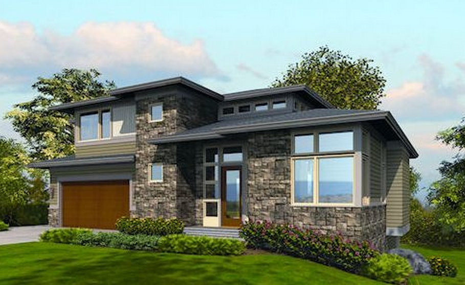 Plano de casa moderna de 3 dormitorios en dos pisos for Planos de casas de dos pisos modernas