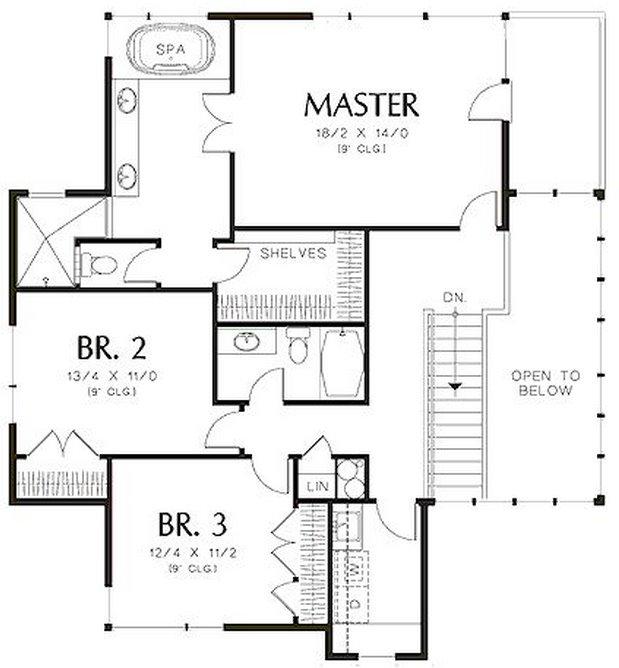 Plano de casa moderna de 3 dormitorios en la planta alta