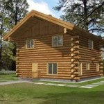 Plano de cabaña de madera de 2 pisos
