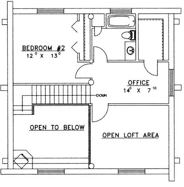 Plano de cabaña de madera de 2 niveles