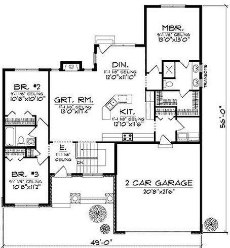 Plano de casa clásica de 3 dormitorios en una planta