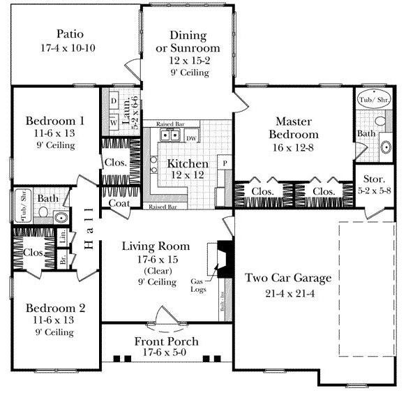 Plano de casa sencilla con jardin de invierno for Planos de jardines