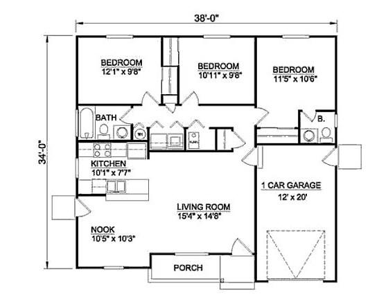 plano de casa de 11 x 10 m