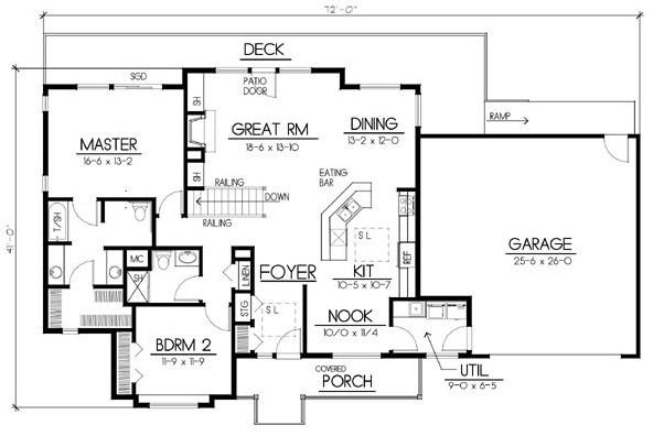 Plano de casa de 2 dormitorios de 12 x 22 metros