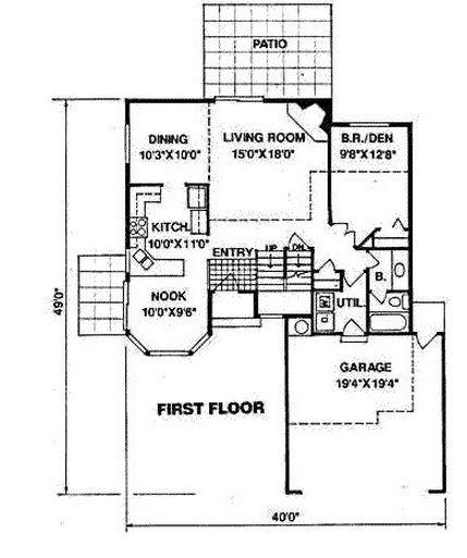 Plano de casa grande de dos pisos con bow window