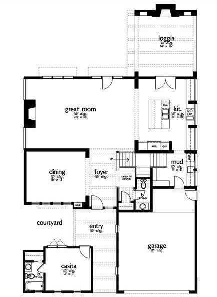 Plano de casa moderna con 4 dormitorios y sala de juegos for Sala de estar dimensiones