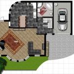 Plano de casa moderna con oficina
