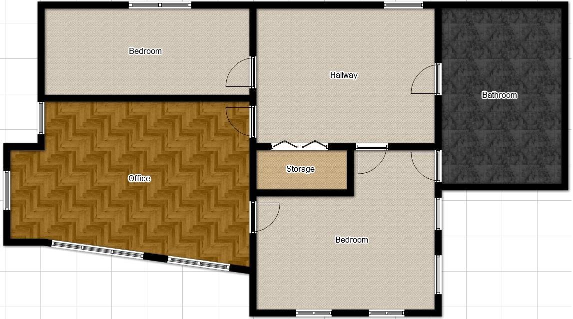 Plano de casa moderna con oficinay cochera
