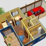Plano de casa pequeña con cochera