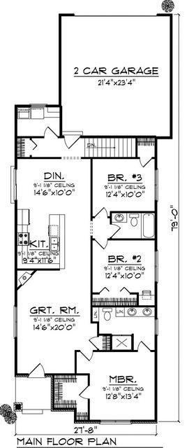 Plano de casa rectangular de 3 dormitorios