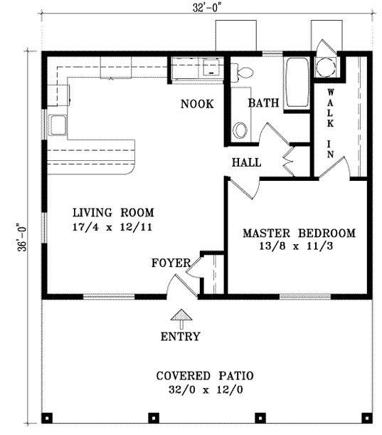 Plano de casa sencilla de 1 dormitorio con galeria frontal