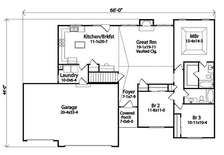 Plano de casa sencilla de 3 dormitorios y cochera doble