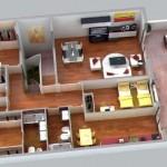 Plano de departamento de 4 dormitorios con balcon y asador