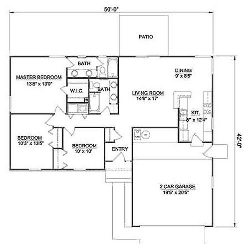 Plano de rancho de 3 habitaciones en una planta