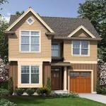 Plano de casa moderna con oficina y garaje doble
