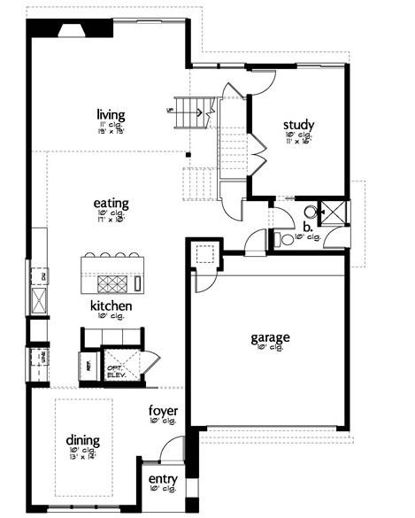 Plano de casa con oficina y 3 dormitorios