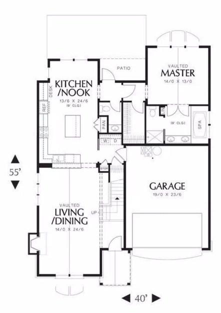 Plano de casa de 2 pisos y tres habitaciones