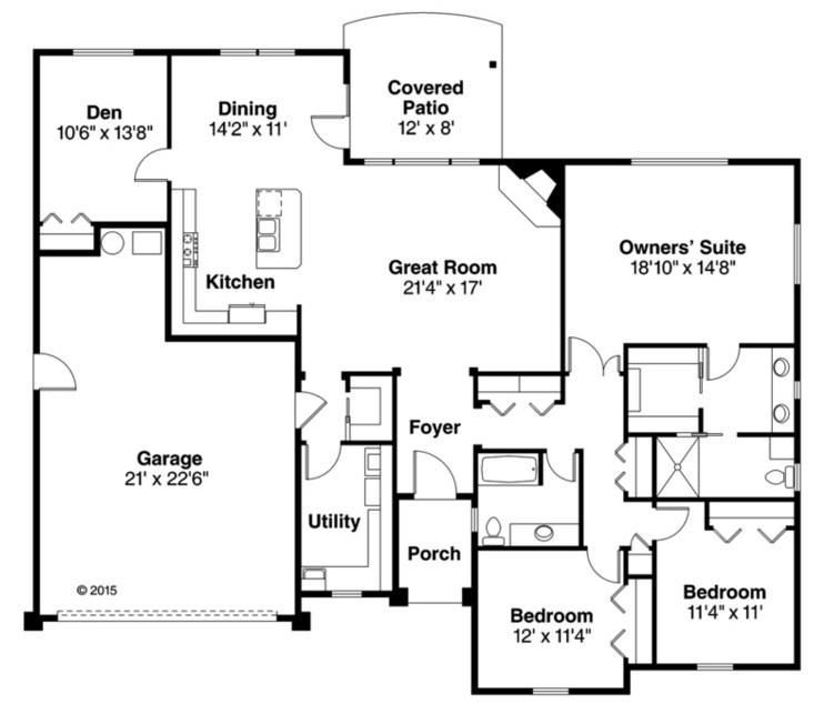 Plano de casa de 3 dormitorios con cochera doble