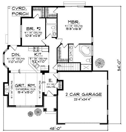 Plano de casa de una planta de 14 x 16 m