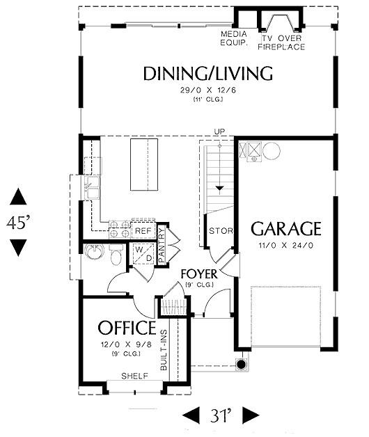 Plano de casa moderna con oficina y garaje doble for Diseno de oficinas pequenas planos