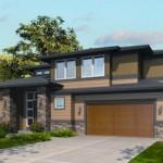 Plano de casa moderna de dos pisos y cochera triple
