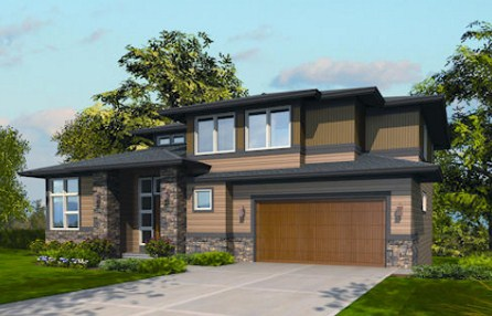 Plano de casa moderna de dos pisos con cochera triple