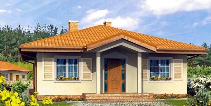 Plano de casa pequeña con techo a 4 aguas