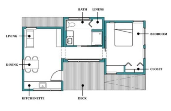 Plano de casa pequeña de 1 dormitorio