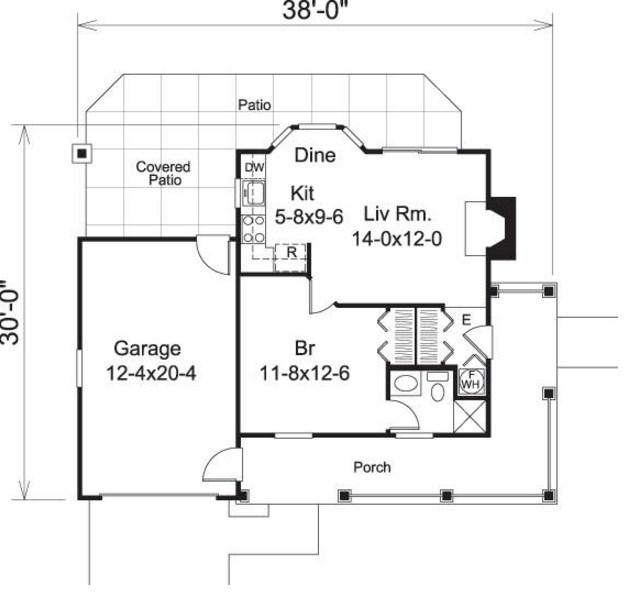 Plano de casa pequeña de 11 x 9 metros