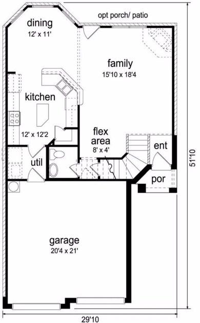 Plano de casa rustica con doble garage