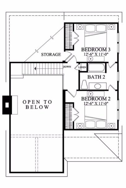 Plano de casa sencilla con 3 dormitorios y sin cochera