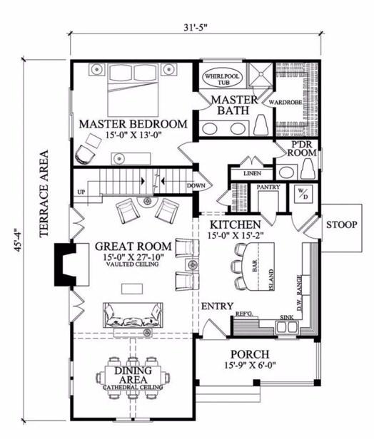 Plano de casa sencilla con 3 dormitorios