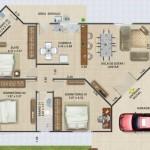Plano de casa moderna con medidas