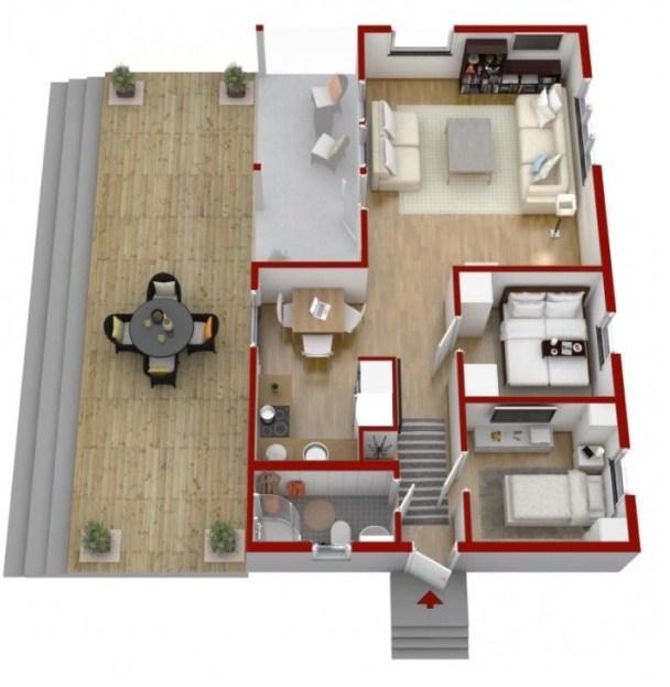 Plano de casa pequeña en 3d