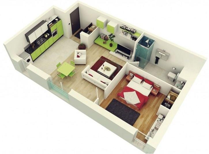 Plano de departamento moderno en 3d for Departamentos minimalistas planos