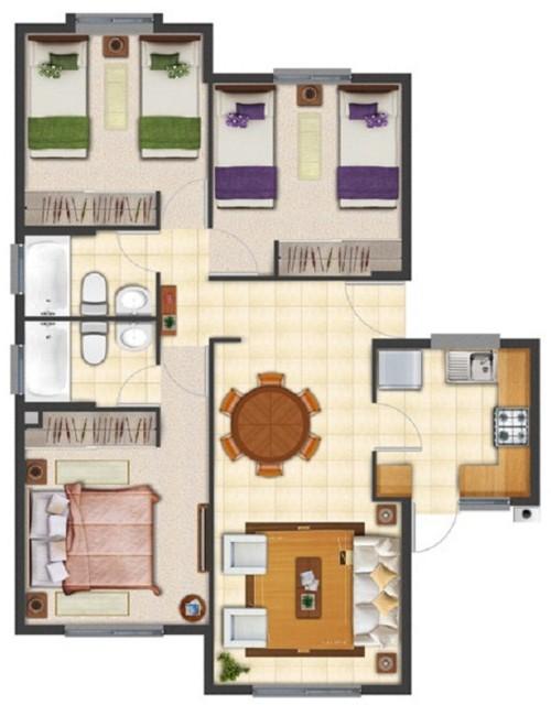 Planos de casas con tres dormitorioscon banos privados for Planos de cocina y lavanderia