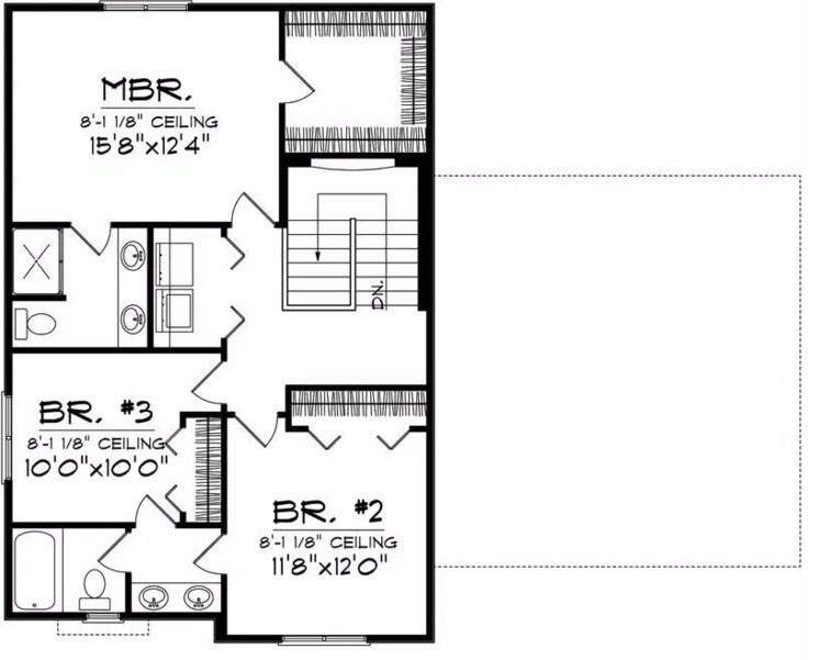 Plano de vivienda de 3 dormitorios