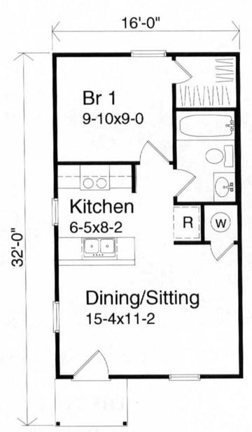 Plano de vivienda minima de 1 dormitorio