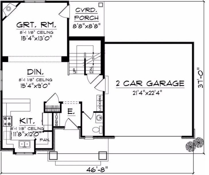 Plano de vivienda modesta de tres dormitorios