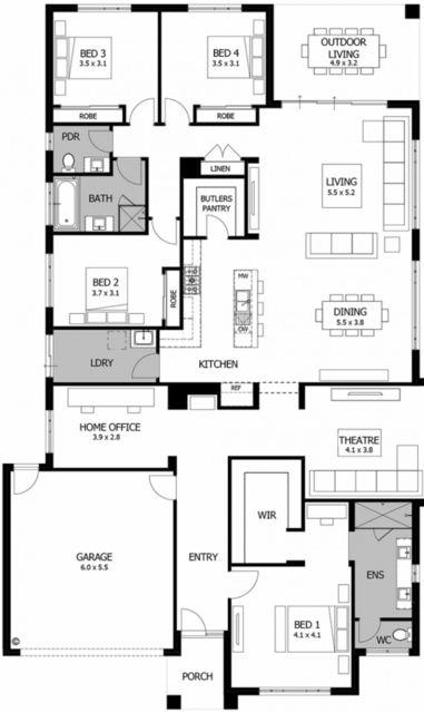 Planos de casas de 1 piso diseño