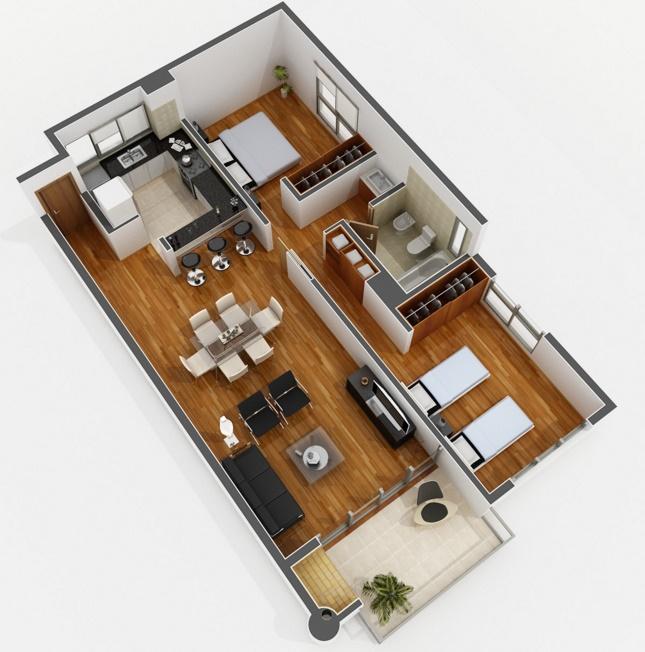 Planos de apartamentos de 120 m dormitorios for Modelos de mini apartamentos