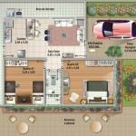 Plano de casa de 2 dormitorios con garage al frente