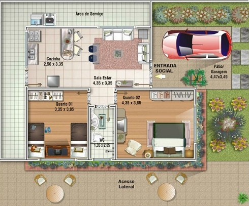 planos de casas 1 planta 2 dormitorios