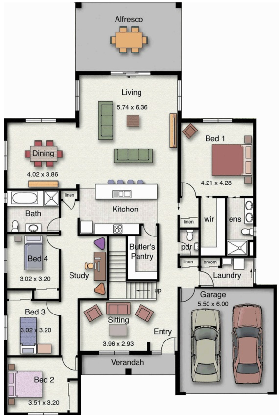 planos de casas 4 dormitorios planta baja