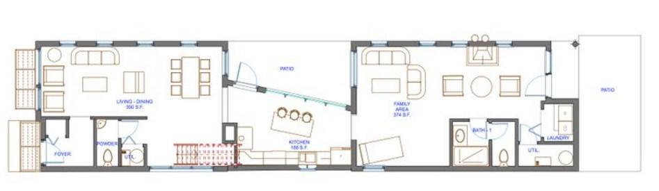 Plano de casa de 5 x 20 m