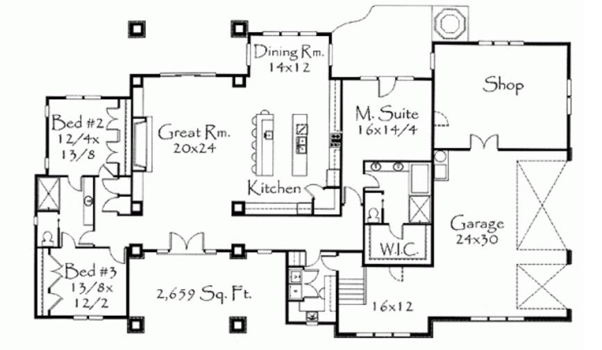 Plano de casa moderna, amplia de tres dormitorios y cocheras