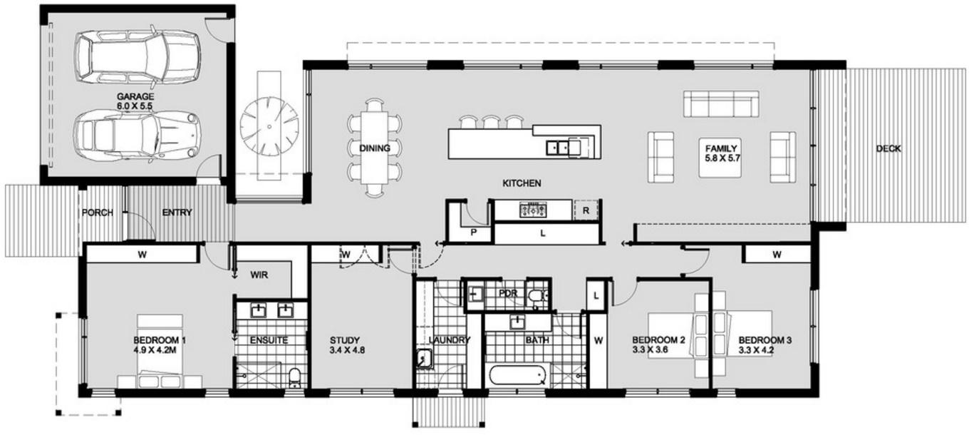 Plano casa dos pisos sencilla argentina for Planos de casas modernas mexicanas