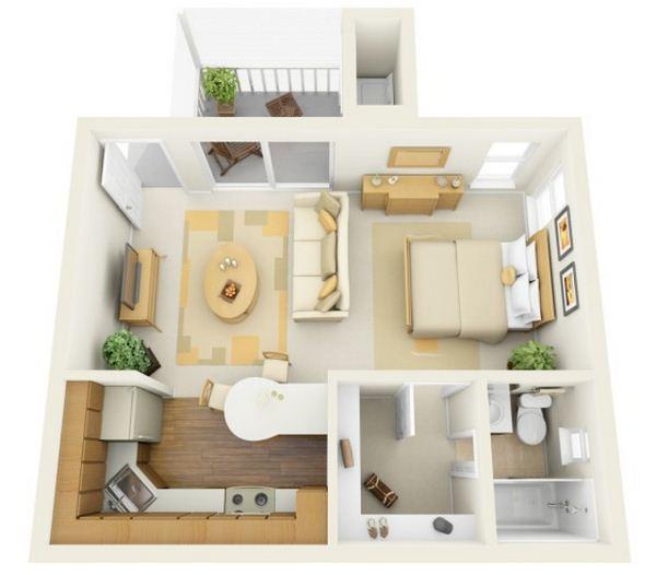 Plano de departamento cuadrado de 1 dormitorio