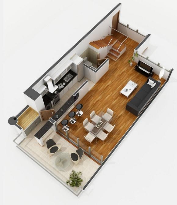 Planos de apartamentos de 2 dormitorios