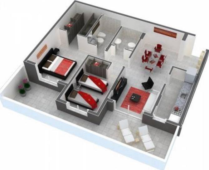 planos de apartamentos de 2 habitaciones